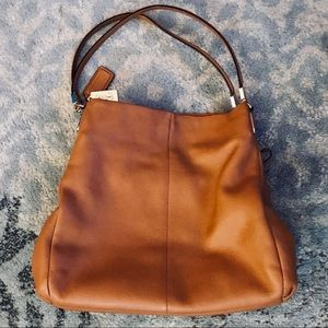 Coach Edie 42 Large Tan Leather Shoulder Bag